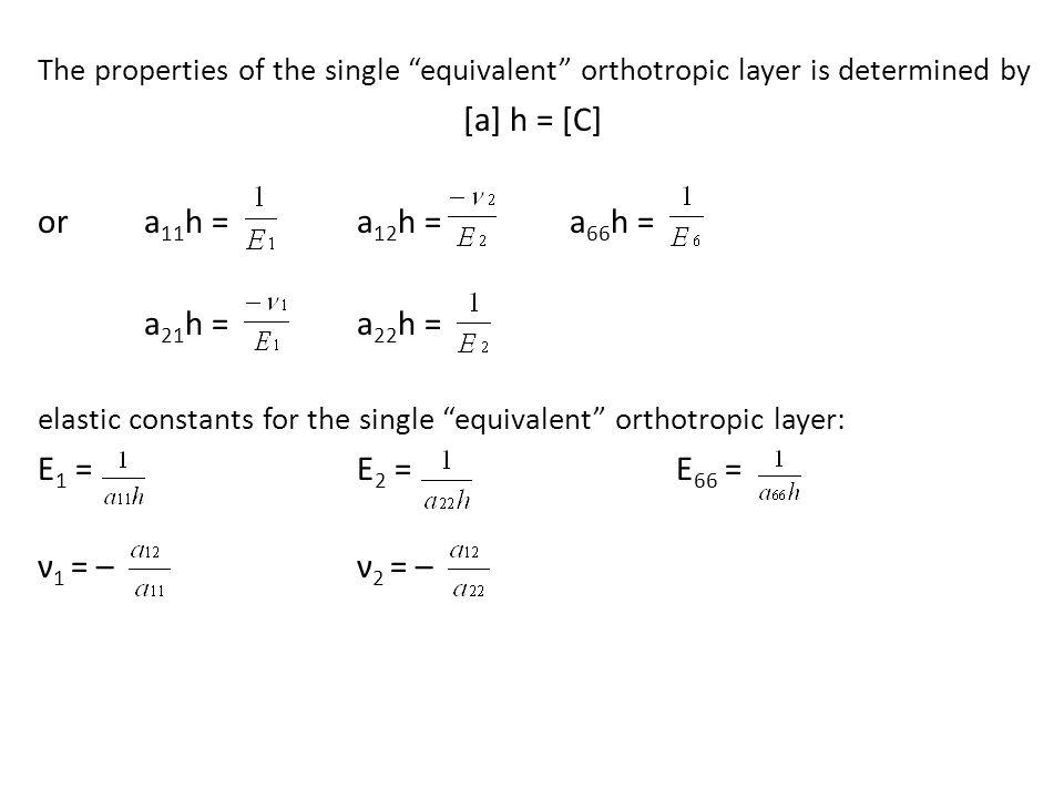 [a] h = [C] or a11h = a12h = a66h = a21h = a22h = E1 = E2 = E66 =